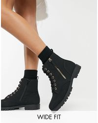 New Look Zip Detail Lace Up Flat Boots - Black