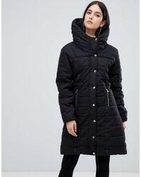 AX Paris Дутая Куртка С Подкладкой Из Искусственного Меха И Поясом - Черный