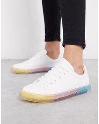 Bershka Sneakers bianche con suola glitterata - Bianco