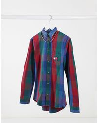 Tommy Hilfiger - Camicia di jeans blu a quadri - Lyst