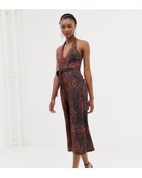 694008c840 ASOS Lace Top Jumpsuit With Halterneck in Red - Lyst