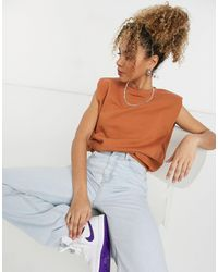 Weekday Kai Organic Cotton Sleeveless Sweatshirt - Brown