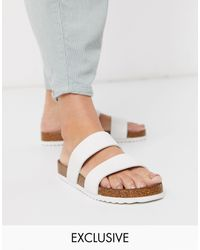 South Beach Exclusive Double Strap Slide Sandals - White