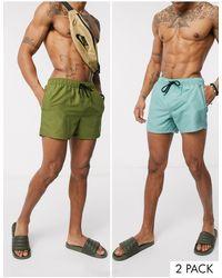 ASOS 2 Pack Swim Shorts - Green