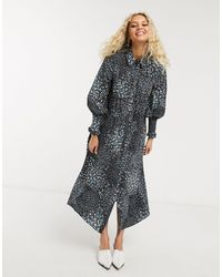 TOPSHOP Shirt Dress With Ruched Waist - Multicolour