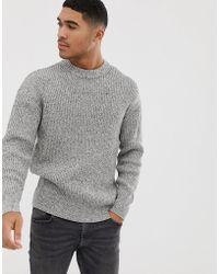 Bershka - Knitted Sweater In Gray - Lyst
