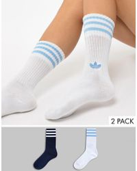 adidas Originals - Crew Sock 2 Pack In Blue And White - Lyst