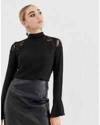 Lipsy Lace Insert Shoulder Blouse - Black
