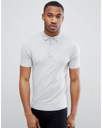 New Look - Muscle Fit Polo Shirt In Gray - Lyst