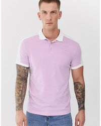 ASOS - Organic Polo Shirt With Contrast Shoulder Panel In Lilac - Lyst