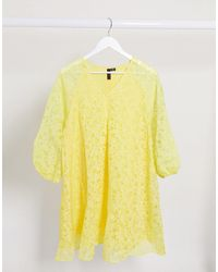Y.A.S Smock Dress With Puff Sleeves - Yellow