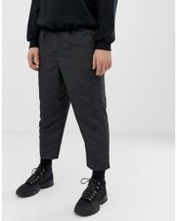 ASOS Drop Crotch Tapered Smart Pants In Sporty Nylon In Charcoal - Gray