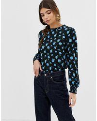 Oasis Blusa con collo arricciato e stampa a fiori - Rosa