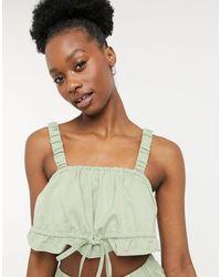 Fashion Union - Эксклюзивный Присборенный Пляжный Кроп-топ Травянисто-зеленого Цвета От Комплекта -зеленый Цвет - Lyst