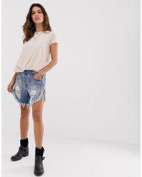 One Teaspoon Outlaws - Short en jean coupe longue effet vieilli à ourlet brut