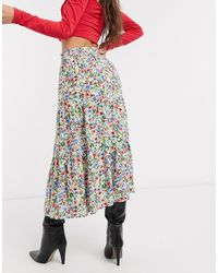 ONLY – Midirock mit floralem Print - Mehrfarbig