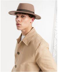 ASOS Cappello Pork Pie regolabile con falda larga e fascia cammello - Marrone