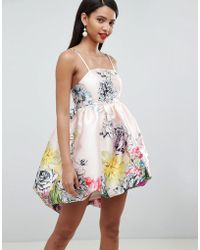 ASOS - Design Satin Bubble Dress In Occasion Bloom Print - Lyst