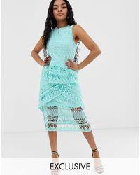 Missguided Эксклюзивное Кружевное Платье Миди Голубого Цвета -синий