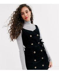 Miss Selfridge Cord Pinny - Black