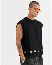 ASOS Cropped Oversized Sleeveless T-shirt With Eyelet Detail - Black