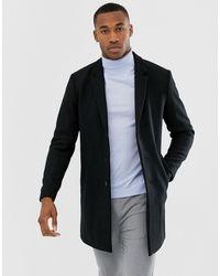 Jack & Jones Черное Премиум-пальто С Добавлением Шерсти -черный