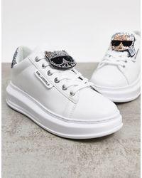 Karl Lagerfeld Белые Кроссовки Со Стразами -белый