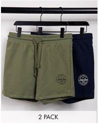 Jack & Jones Набор Из 2 Трикотажных Шорт Темного-синего И Зеленого Цвета С Логотипом-штампом Core-темно-синий - Зеленый