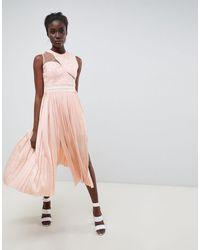 Three Floor Vestido midi con diseño asimétrico plisado - Rosa