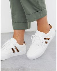 London Rebel Side Stripe Lace Up Trainers - White