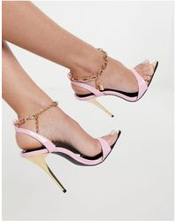 Public Desire Triumph Heeled Sandals With Padlock Anklet - Purple