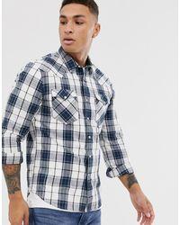 Levi's Barstow - Geruit Westernoverhemd Met Twee Zakken - Blauw