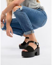 Pull&Bear - Two Part Western Buckle Chunky Sandals In Black - Lyst