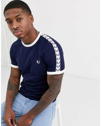 Fred Perry Taped Ringer T Shirt Carbon Blue
