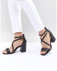 Glamorous - Black Pin Stud Block Heeled Sandals - Lyst