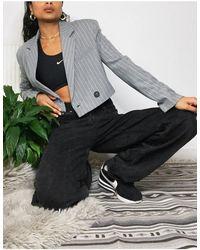 Bershka Cropped Blazer - Grey