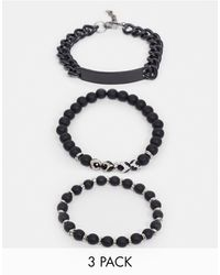 ASOS Beaded Mystical Agate And Chain Bracelet Pack - Black