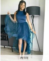 Chi Chi London High Low Organza Dress - Blue