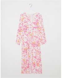 Monki Lo Floral Print Jacquard Maxi Dress - Pink