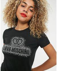 Love Moschino Черная Футболка С Логотипом Из Стразов -черный