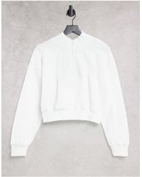 TOPSHOP Funnel Zip Sweat - White
