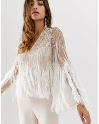 ASOS Long Sleeve Embellished Top With Faux Feather Trim - Natural