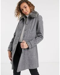 Oasis Coat With Faux Fur Collar - Grey