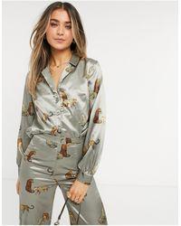 Chi Chi London Коричневая Рубашка С Принтом Тигра От Комплекта -коричневый Цвет