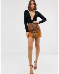 River Island Faux Leather Zip Through Mini Skirt - Brown