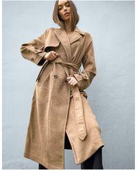 Stradivarius Belted Tailored Coat - Brown