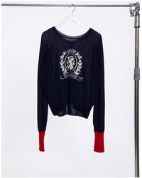 Tommy Hilfiger Темно-синий Джемпер Из Тонкого Трикотажа С Логотипом-гербом Collections