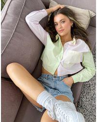 Pull&Bear Colour Block Cropped Shirt - Multicolour