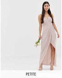 TFNC London - Эксклюзивное Серо-коричневое Платье-бандо Мидакси С Плиссировкой И Запахом Bridesmaid-коричневый - Lyst