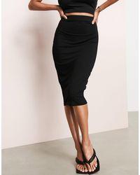 ASOS Asos Luxe Jersey Pencil Midi Skirt - Black